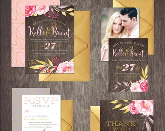 Watercolor Floral Gold Glitter Wedding Invitation Kit  --  Personalized Digital Printable Files