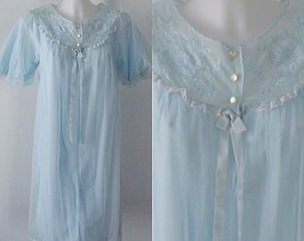 Vintage Blue Chiffon Nightgown, French Maid, Romantic, Blue Chiffon Nightgown, Vintage Nightgown, 1960s Chiffon Nightgown