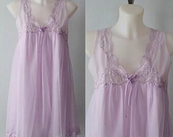 Vintage Nightgown, Vintage Nightgowns, 1970s Nightgowns, French Maid, Lavender Nightgown, Chiffon Nightgown, Wedding