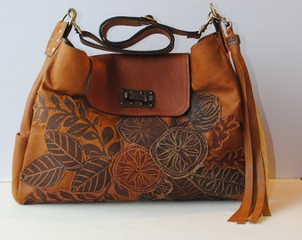 Leather Hobo bag, tote, large,Floral Appliqué ,Toffee ,Brown