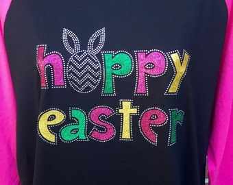 Happy Easter Rhinestone and glitter Heat Transfer -DIY