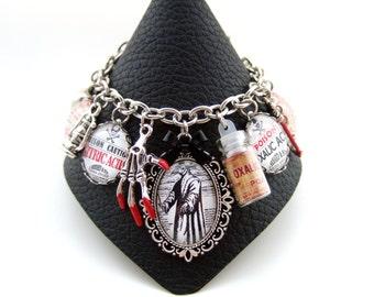Plague Doctor Bracelet-Poison Bracelet-Gothic Bracelet-Mori-Beak Doctor-Altered Art Charm Bracelet-Handmade in the UK-Steampunk Bracelet