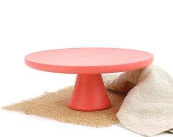 "Wooden 8 3/4"" Coral Cake Stand, Pedestal Cake Stand, Smash Cake Stand Photo Prop / Pedestal Dessert Plate"