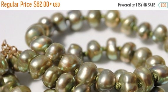 ON SALE Freshwater Pearl Necklace Gemstone Strand Necklace Green-Gold Baroque , 14k Gold Filled For Her