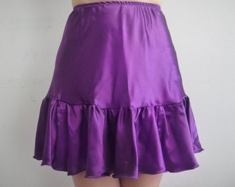 Satin Mini Skirt with ruffle. Sizes S M L - All colors - new