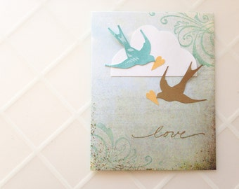 Handmade Card - Birds - Cloud - I Love You - Wedding - Engagement - Anniversary - Valentine's Day - one of a kind