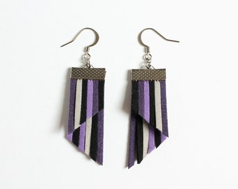 Color Stripes Earrings - Purple Black Gray