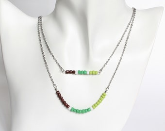Brown Green Double Layer Mini Beads Stainless Steel Necklace