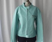 ON SALE Oscar Leopold Aqua Leather Moto Jacket Short cropped blue zipper minimalist  biker jacket unisex Large  Montreal design