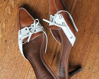 ON SALE Womens Ralph Lauren Shoes / Brown Leather low heel shoes /Two Tone Shoes / Slip on kitten heels / Caramel Brown and Cream / 8.5
