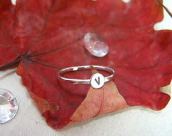 Sterling Silver Initial Stacker Rings - Personalised