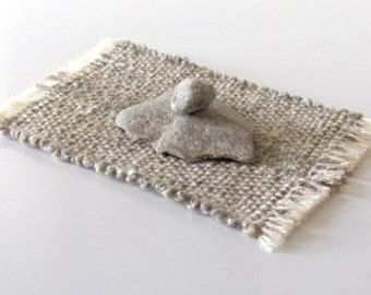 Yoga Relaxation Serenity Calm School Office College Desk Accessories Shelf Decor Zen Meditation Decor Stacking Stones on a Natural Woven Mat