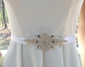 Rhinestone Applique Sash, Prom Rhinestone Sash, Bridal Party Sash, Rhinestone Applique Belt, Bridal Wedding Belt,  Bridal Wedding  Sash