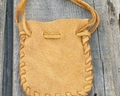 ON SALE Small leather pouch , Buckskin leather pouch , Crystal bag , Fetish bag , Drawstring medicine bag