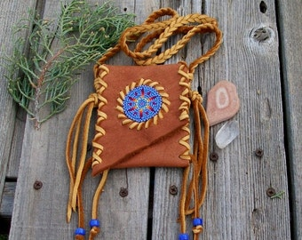 Beaded amulet bag , Beaded Necklace bag , Native medicine pouch, Tribal bag