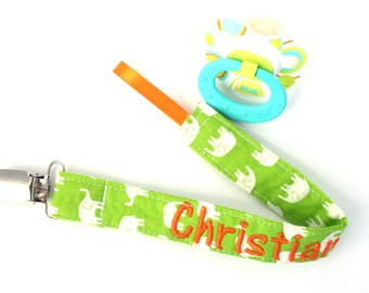 Sale- Elephants On Green- Orange and Green, Pacifier Clip, Choose Any 3 Pacifier Clip Set- Pacifier Clip - guitars , elephants Binky