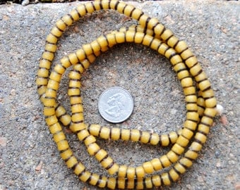 African Sand Cast Beads -Yellow/Brown