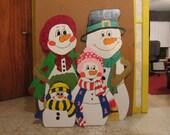Handmade custom painted wooden outdoor snowman family