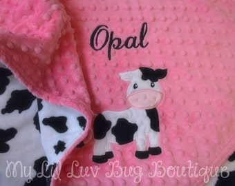 Personalized baby blanket- paris pink and black baby cow- 30x35 stroller blanket