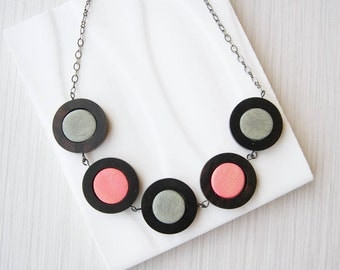 Grey Wood Necklace - 5th Anniversary Gift, Modern, Statement Jewelry, Coral Orange Pink, Geometric, Ebony, , Contemporary