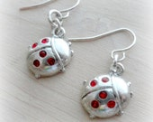 Lady Bug Jewelry Small Silver Earrings Encrusted with Red Crystals Gifts for Girls Little Girls Holiday Gift Guide