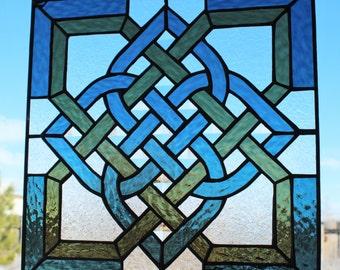 CELTIC STAINED GLASS - Window Panel Suncatcher Celtic Knot, Square Suncatcher, Blue Green Large Suncatcher, Wedding Gift, Graduation Gift