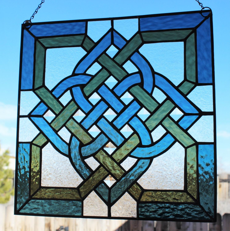 Celtic stained glass window panel suncatcher celtic knot for Glass windows