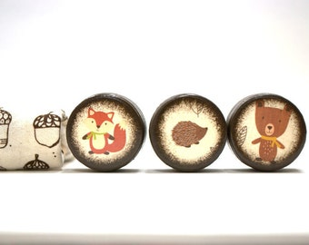 Woodland Collection - Set Of 3 Pill Boxes - Fox, bear, Hedgehog, Cute, pill box, Kids, Toothfairy boxes, Trinket Boxes, Wood Box, Wooden box