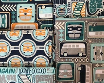 VW Fabric Bundle - Keep on Groovin' from Riley Blake - 5 Fat Quarters or Half Yards Retro Volkswagen in Navy, Teal, Gray, Orange