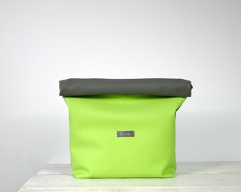 Neon Green and Grey Lunch Bag | neon green purse | Neon green lunch purse | Neon green clutch | Neon party clutch