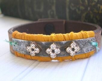 Boho chic leather bracelet - Gypsy Jewels - layering cuff bracelet, southwestern cowgirl, hippie, rhinestones cross yellow, bohemian jewelry