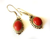 Red Coral Earrings,Small drops,dangle Red Earrings,Gift for her,Graduation Gift,Casual everyday wear