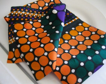 Fabulous Vintage Mod Scarf Orange Evergreen Green Purple White Circles Geometric Pattern
