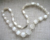 Vintage Crystal & White Satin Glass Necklace