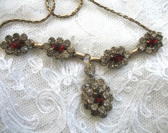 Vintage Art Deco Rhinestone Necklace ~ Red & Crystal Rhinestones