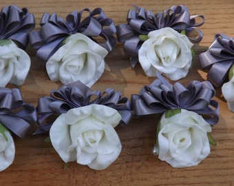 Charming mom, grandmother, honored guest pin on or wrist corsage with real touch white petite rose