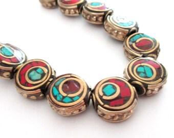 5 Tibetan Brass Beads - Tibetan Coin shape - Tibet brass Beads with Turquoise Coral inlay - Ethnic Tribal - 12mmx6mm - DIY Jewelry Beads