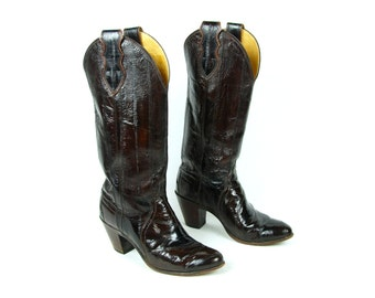 Eel Skin Boots by Justin Boot Co., Size 6 1/2 B