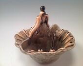 Pottery bowl/Double Bowl set/bowl set/2 sided bowl/salsa bowl/condiment server/serving dish/sage green/unique bowl/bowl/serving bowl