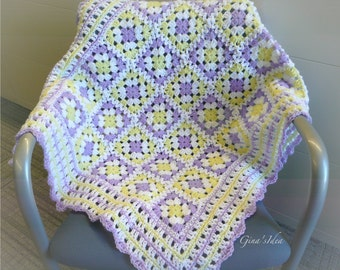 """Crochet BABY BLANKET AFGHAN Lap Granny Squares Soft Warm New Gift  36"""" x 28"""" Girl Yellow Lilac"""
