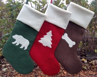 Three Custom Christmas Stockings, Burlap Christmas Stockings, Woodland Theme