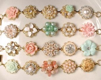 Gold Mint Green, Blush Pink Coral, Ivory Pearl & Rhinestone Bridesmaid Bracelets, Vintage Earring Bracelets Rustic Wedding Set 4 5 6 8 9