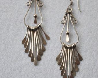 Vintage Sterling Silver Gypsy Dangle  Earrings