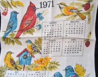 1970's Bird Calendar Linen Vintage Kitchen Towel