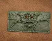 "Grichels leather checkbook cover - ""Wheloom"" 28119 - shimmery light green with yellow carousel horse eyes"