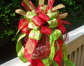 Christmas Centerpiece, Christmas Arrangement, Christmas Ornament Table Decoration, Red and Lime, Christmas Decoration