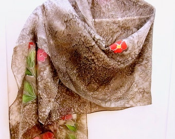 Hand Painted Silk Wrap, Shawl, 74 x 22 inches, Made in Australia, Ready to Ship, Gift for her, Mothers Day SallyAnnesSilks  W23