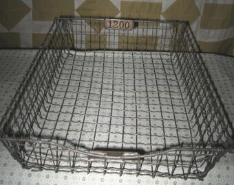 Antique Vintage Office Paper Tray Office Storage Wire File Desk Tray Basket Industrial