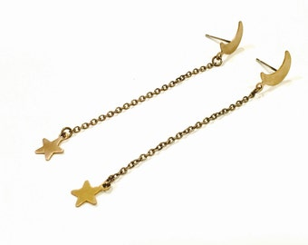 Crescent moon falling stars duster earrings