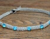 Hemp Necklace Glow in the Dark Aqua Blue Beach Jewelry Vacation Everyday Choker